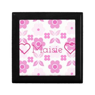 Customisable Retro Pink Flowers Jewellery/Gift Box