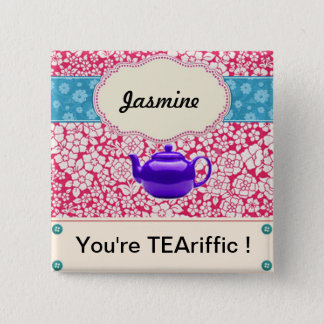 Customisable Vintage Floral Kitsch Teapot 2 Inch Square Button