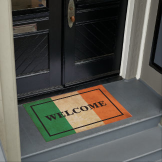 CUSTOMISABLE WELCOME text on IRELAND vintage flag Doormat
