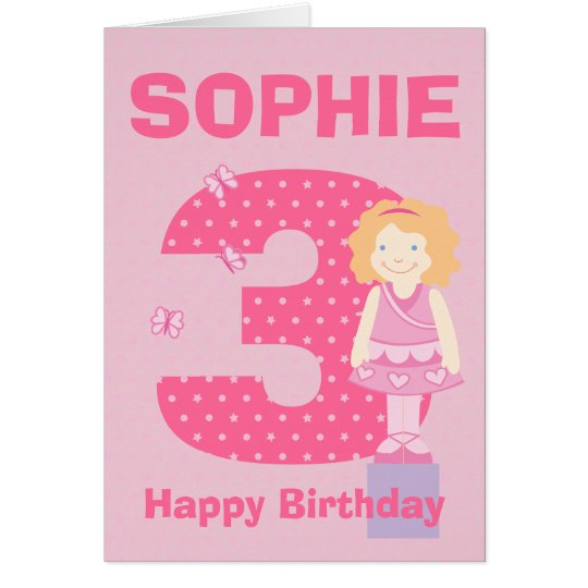 Customise age and name girl's birthday card