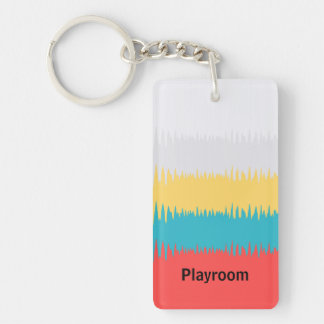 Customise Red Blue Yellow Green Stripe Pattern Keychain