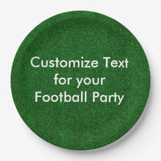 "Customise text on 9"" paper plate/football turf 9 inch paper plate"