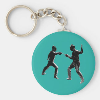 Customiseable Vintage fencing Gifts Basic Round Button Keychain