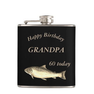 Customised Trout  Happy 60th Birthday Grandpa Hip Flask