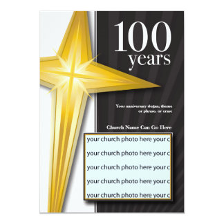 "Customizable 100 Year Church Anniversary 5"" X 7"" Invitation Card"