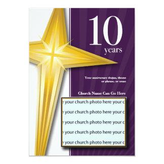 "Customizable 10 Year Church Anniversary 5"" X 7"" Invitation Card"