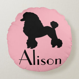 Customizable 1950's Pink Poodle Skirt Round Pillow