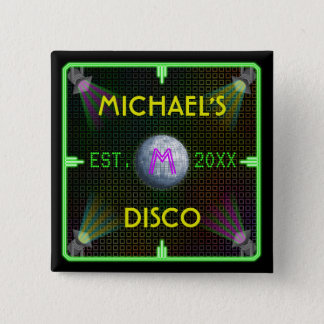 Customizable 1970's Disco Ball 2 Inch Square Button