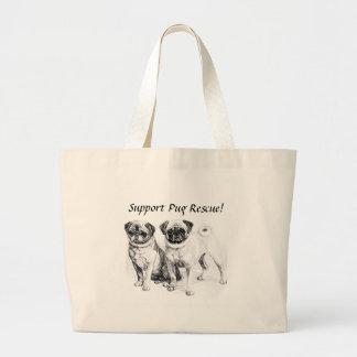 Customizable 2 Precious Pugs Illustration Large Tote Bag