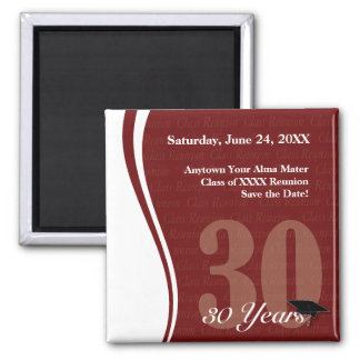 Customizable 30 Year Class Reunion Square Magnet