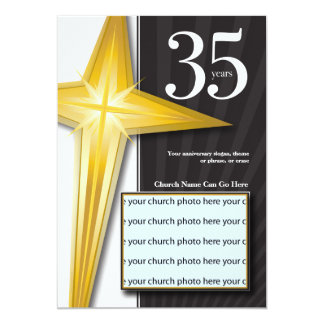 "Customizable 35 Year Church Anniversary 5"" X 7"" Invitation Card"