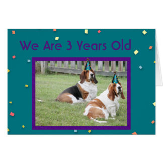 """Customizable """"3 Years Old"""" Birthday Card w/Bassets"""