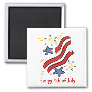 Customizable 4th of July Ribbon & Star Magnets