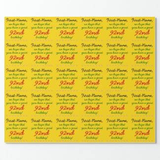 Customizable 92nd Birthday Wrapping Paper