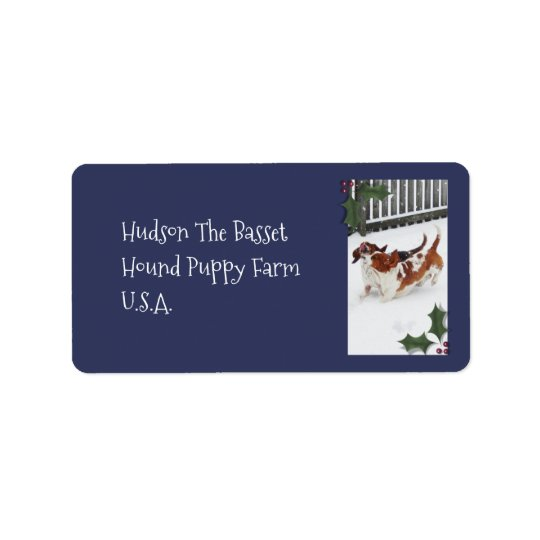 Customizable Address Labels w/Basset Hounds & Snow