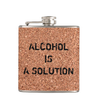 "Customizable ""Alcohol is a Solution"" Funny Flask"