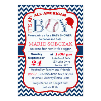 Customizable All Amer Bball Baby Shower Invitation