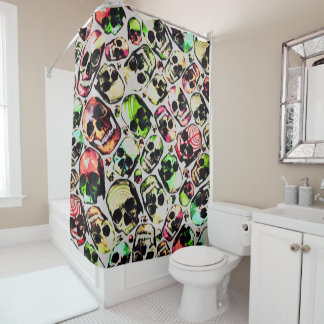 customizable all ove skull print shower curtain