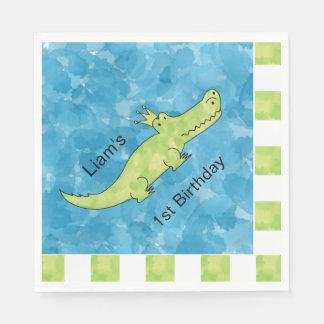 Customizable Alligator 1st Birthday Paper Napkin