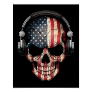 Customizable American Dj Skull with Headphones Poster