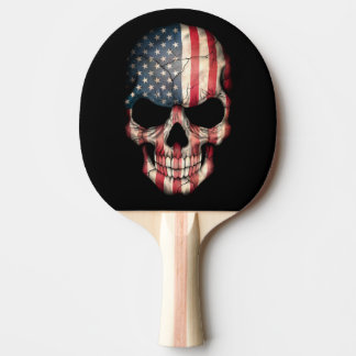 Customizable American Flag Skull Ping Pong Paddle