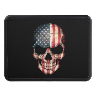 Customizable American Flag Skull Trailer Hitch Cover