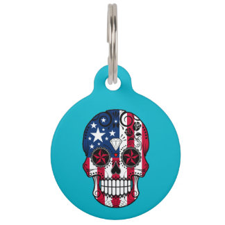 Customizable American Flag Sugar Skull with Roses Pet ID Tag