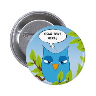 Customizable angry little owl - multiple colors 2 inch round button