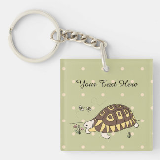 Customizable Angulate Tortoise Keychain (2 sided)