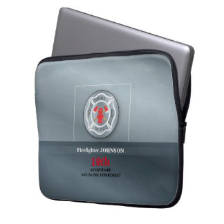 Customizable, Anniversary with Fire Department Laptop Sleeve