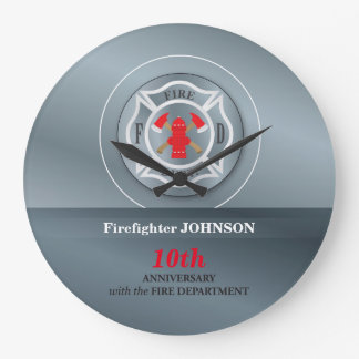 Customizable, Anniversary with Fire Department Large Clock