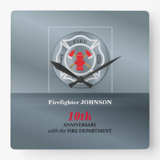 Customizable, Anniversary with Fire Department Square Wall Clock