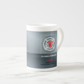 Customizable, Anniversary with Fire Department Tea Cup