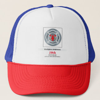 Customizable, Anniversary with Fire Department Trucker Hat