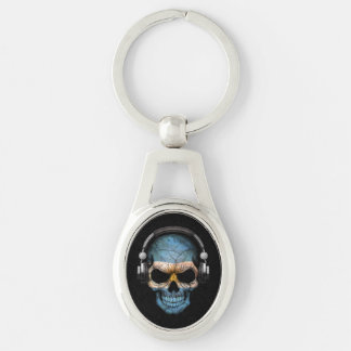Customizable Argentine Dj Skull with Headphones Keychain