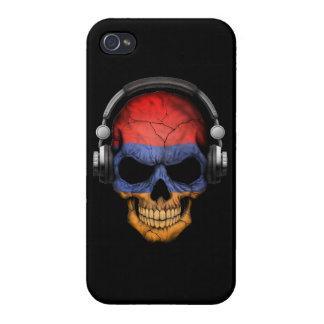 Customizable Armenian Dj Skull with Headphones iPhone 4 Case