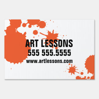 Customizable art lessons sign