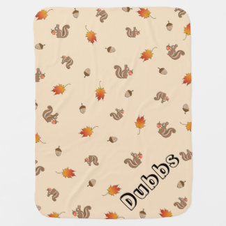 Customizable Autumn Squirrel Receiving Blankets