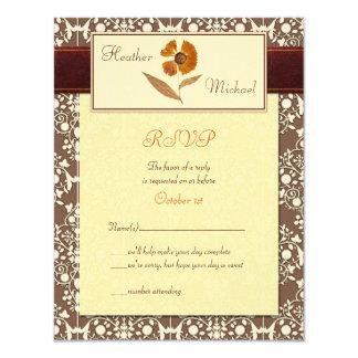 "Customizable Autumn Wedding Response Card 4.25"" X 5.5"" Invitation Card"