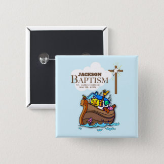 Customizable, Baby Boy Baptism Noah's Ark 2 Inch Square Button