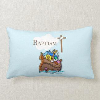 Customizable, Baby Boy Baptism Noah's Ark Lumbar Pillow