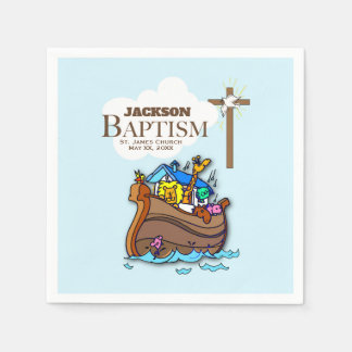 Customizable, Baby Boy Baptism Noah's Ark Paper Napkin