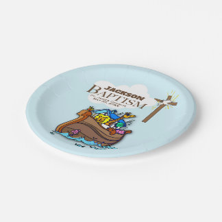 Customizable, Baby Boy Baptism Noah's Ark Paper Plate