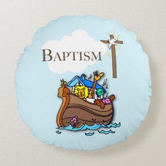 Customizable, Baby Boy Baptism Noah's Ark Round Pillow