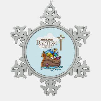 Customizable, Baby Boy Baptism Noah's Ark Snowflake Pewter Christmas Ornament