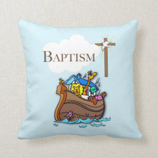 Customizable, Baby Boy Baptism Noah's Ark Throw Pillow