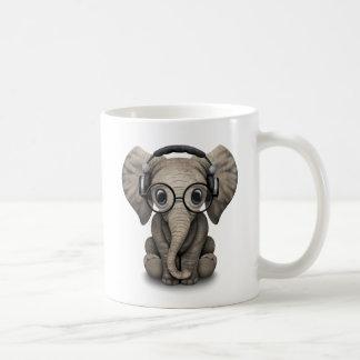 Customizable Baby Elephant Dj with Headphones Coffee Mug