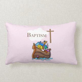 Customizable, Baby Girl Baptism Noah's Ark Lumbar Pillow