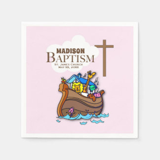 Customizable, Baby Girl Baptism Noah's Ark Paper Napkin