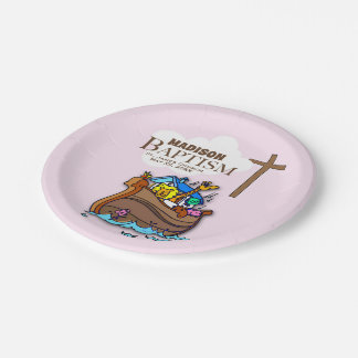 Customizable, Baby Girl Baptism Noah's Ark Paper Plate